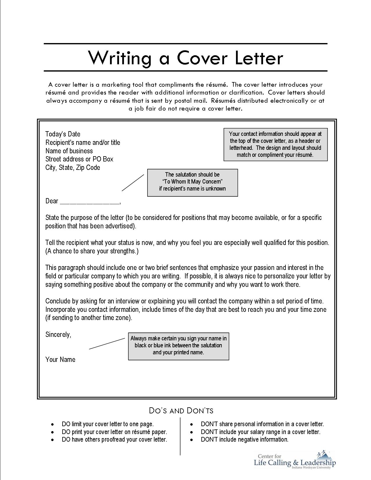 writing a covering letter: