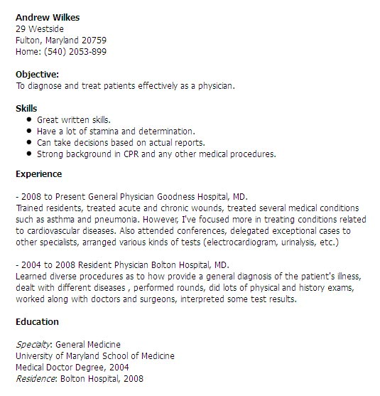 Medical Doctor Resume Example