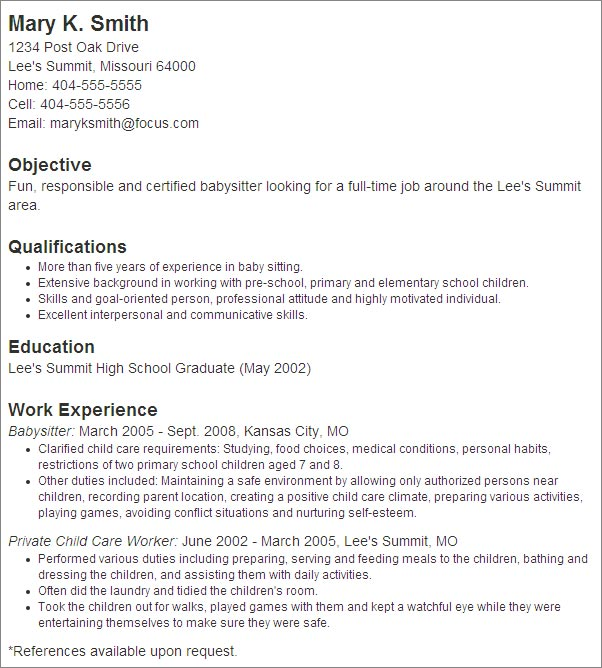 babysitter resume example 2 Babysitter Resume Sample