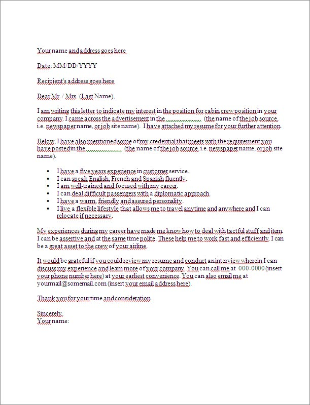 application letter  cover letter  template for cabin crew