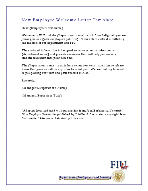 New Employee Welcome Letter