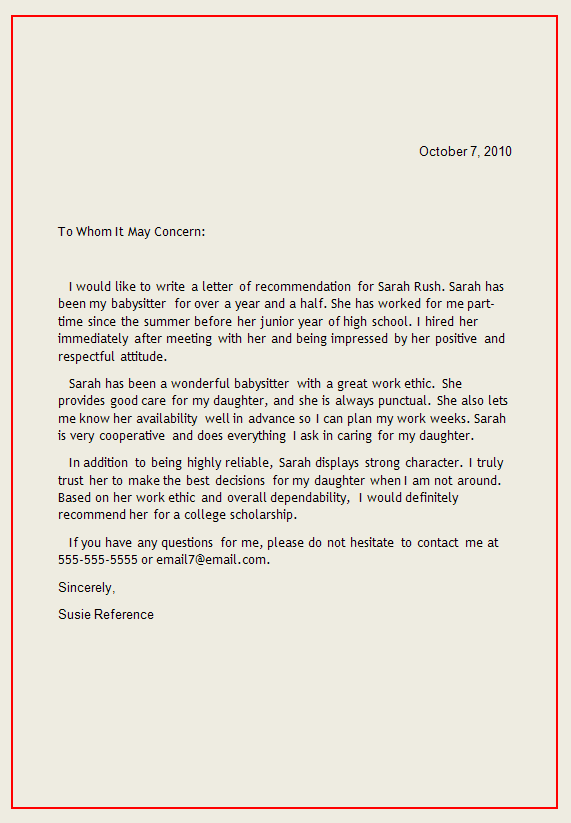 reference letter1 Writing a Reference Letter