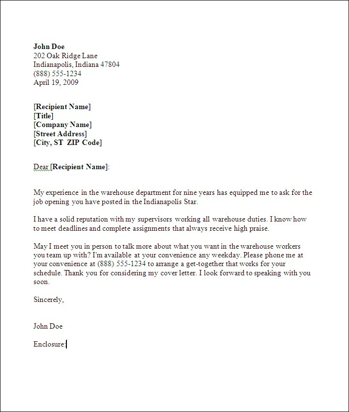 A sample Warehouse Worker cover letter