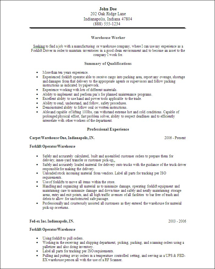Sample Warehouse Worker Resume