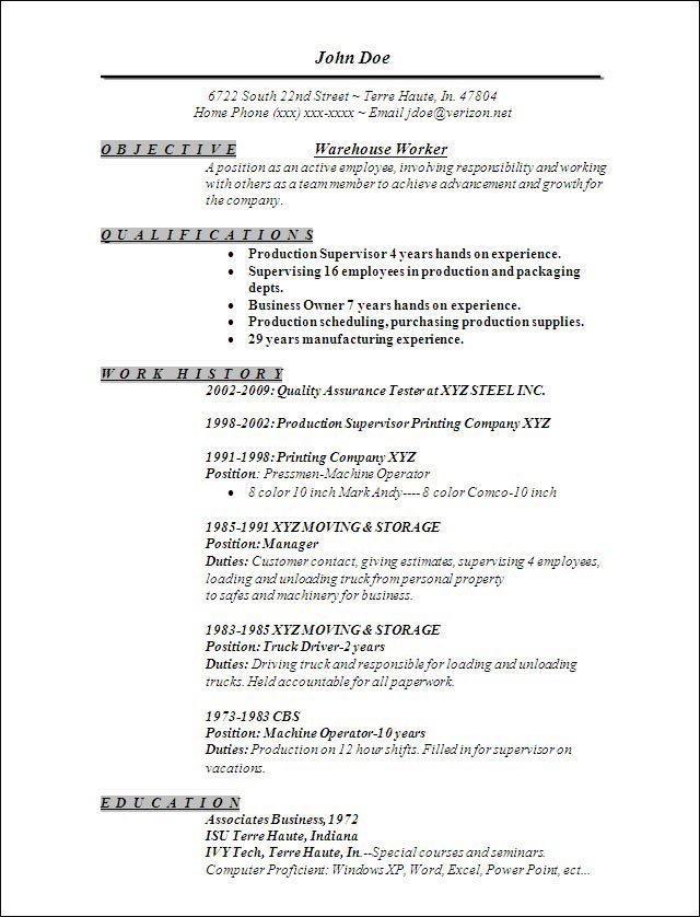 warehouse worker resume sample warehouse worker resume sample and template