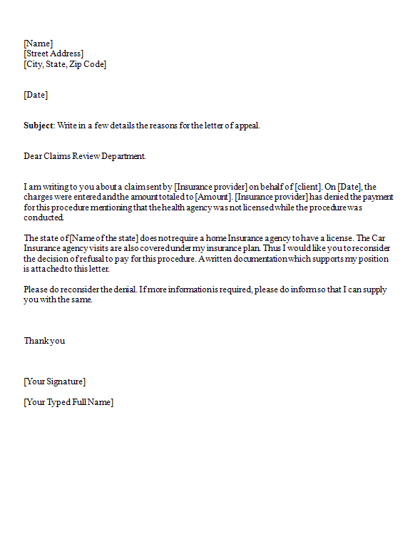 appeal letter template  u2022 all docs