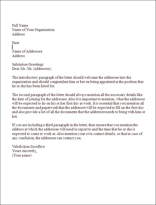 business appointment letter template Writing Appointment Letter   Tips & Template