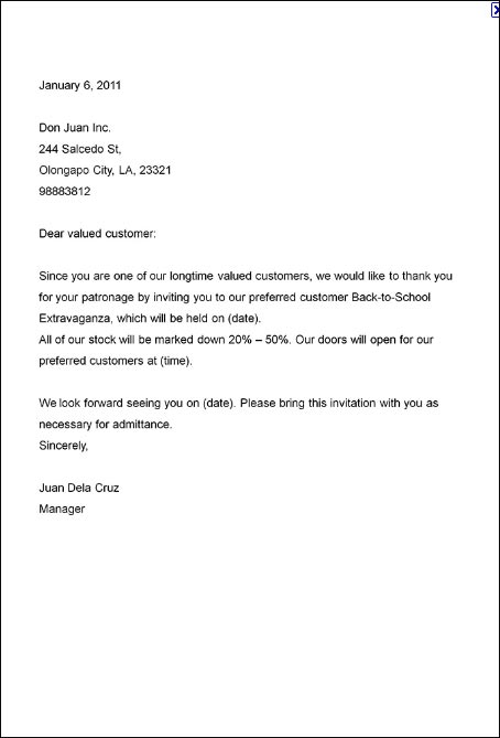 Invitation Business Letter Sample