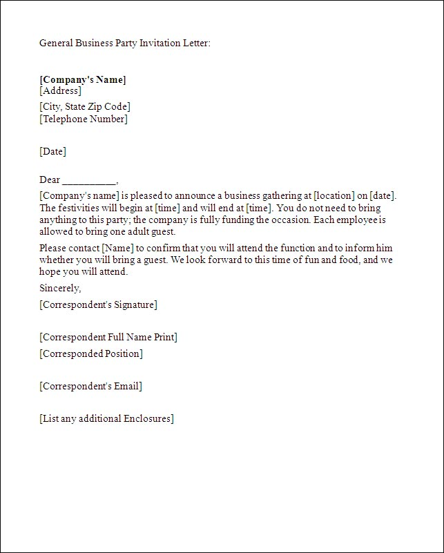 Writing Business Party Invitation Letter: Tips & Template