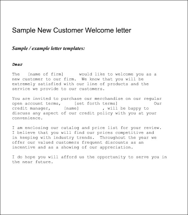 new customer welcome letter New Customer Welcome Letter