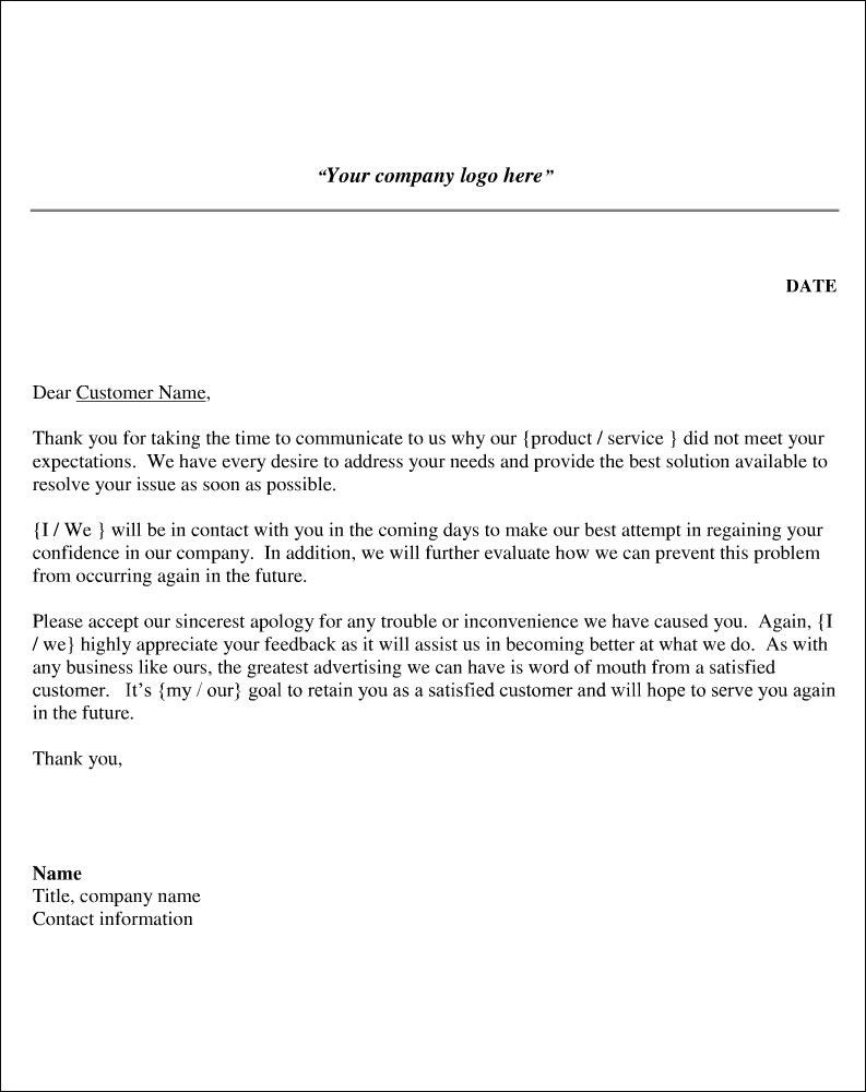 Response to Letter of Complaint Sample