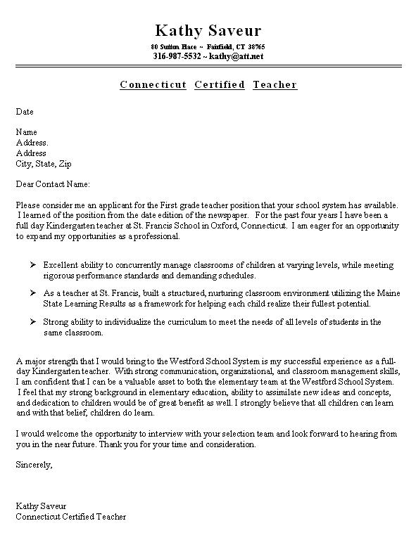 never send a resume without a cover letter here is a sample teacher ...