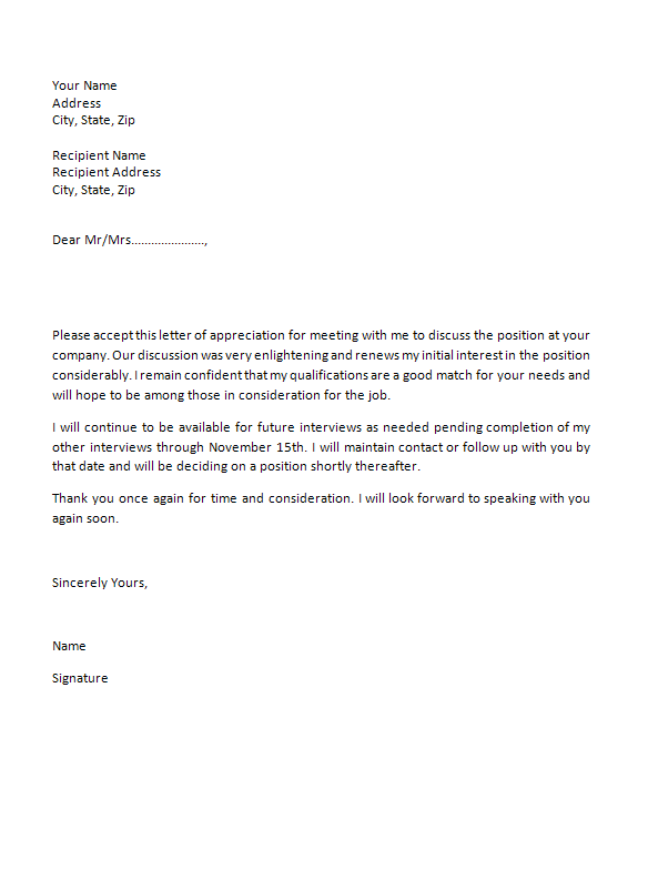 Thank You For-Interview Letter Template