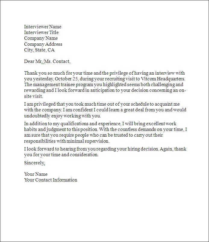 Thank You Letter after Interview – Tips and Template