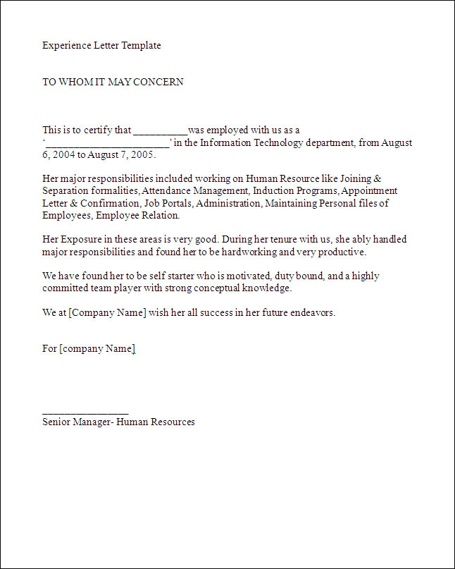work experience letter template Writing Work Experience Letter: Tips & Template