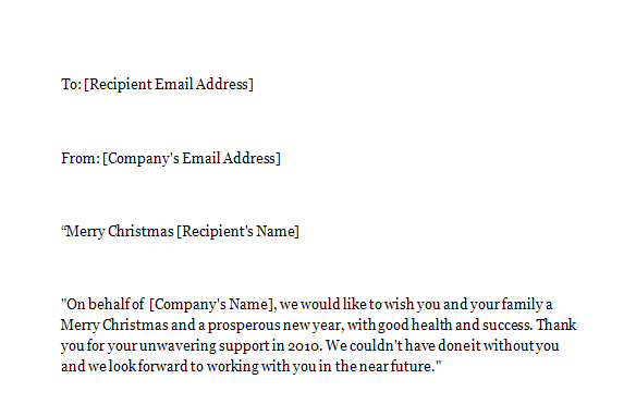 Business E-mail Sample for Christmas