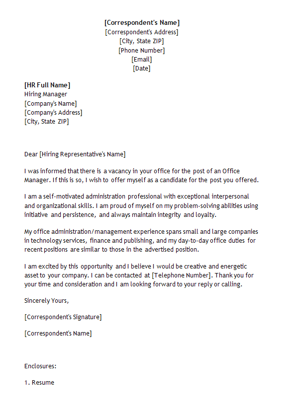 Job Application Letter Template for Manager Position