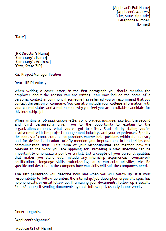 Application Letter Sample for Project Manager