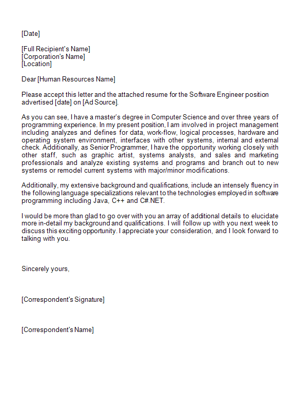 Application Letter Sample for Software Engineer