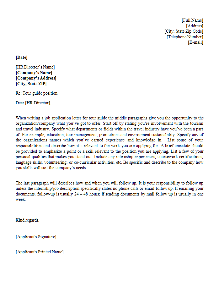 Job Application Letter Template for Tour Guide Position