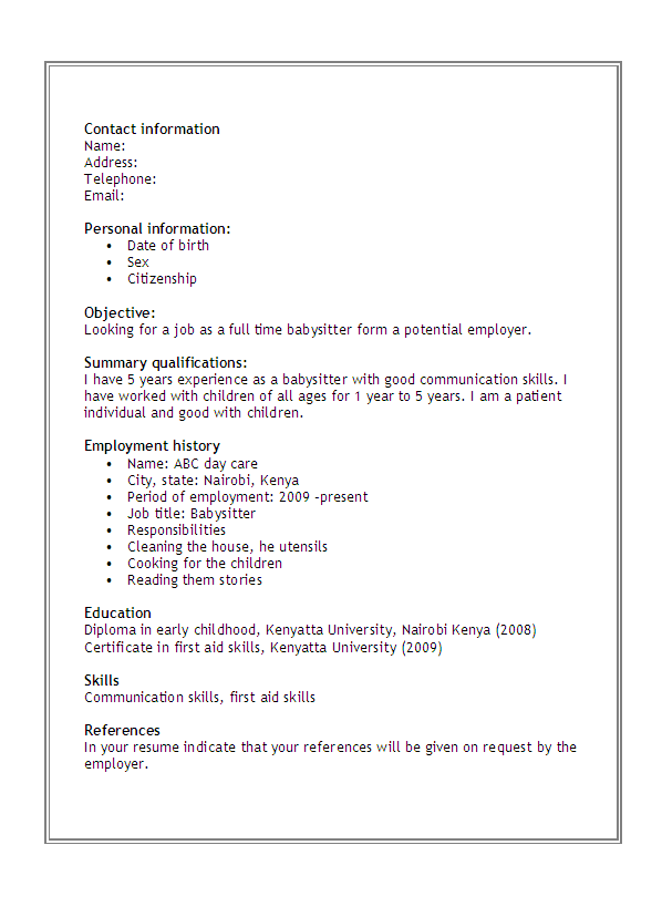 babysitter resume sample