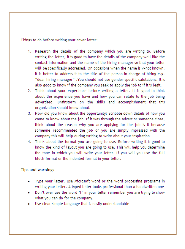 cover letter template1 How To Prepare A Cover Letter
