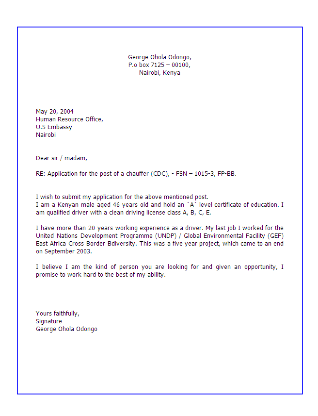 Job Application Letter Sample