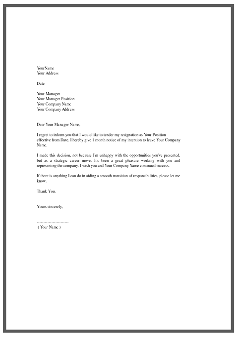 Resignation Letter Template All Docs