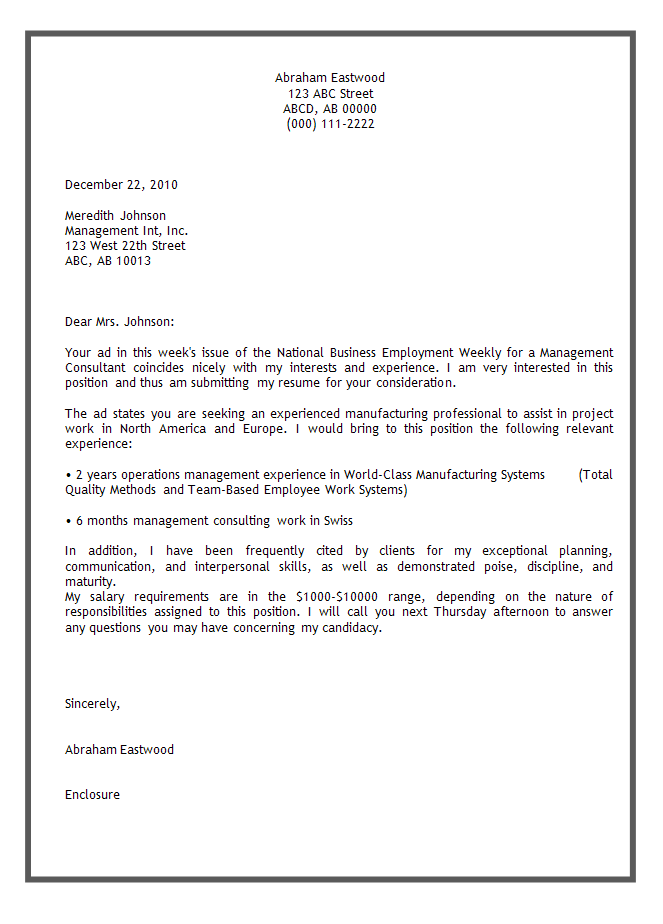 application letter sample cover letter template examples