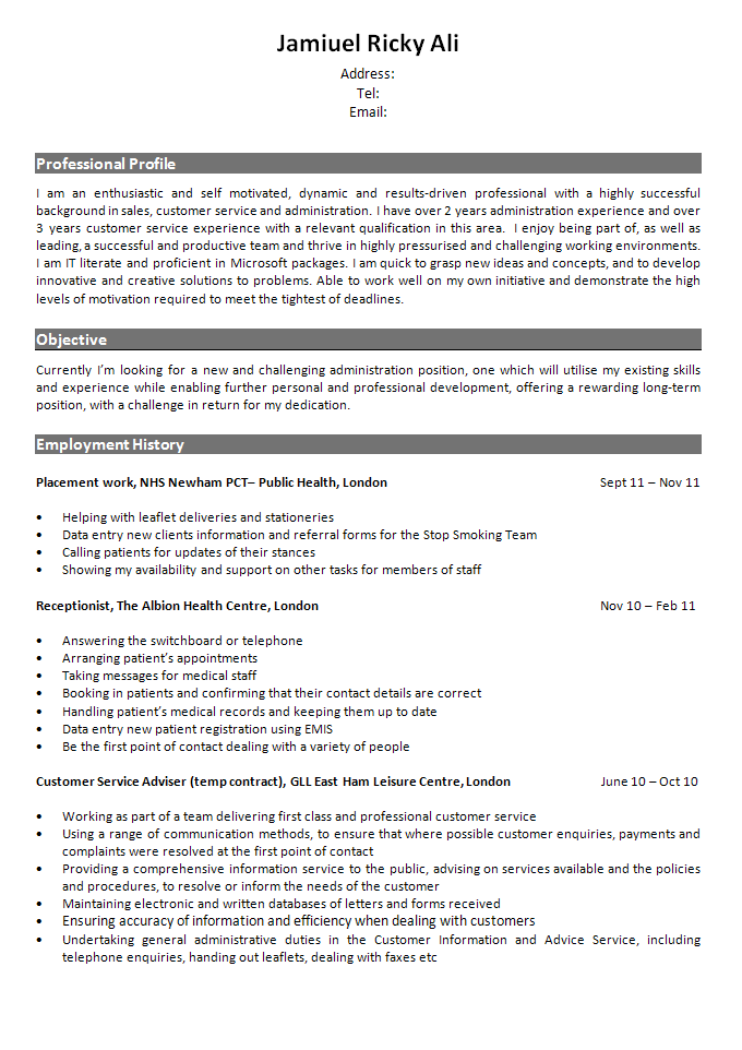 admin receptionist resume review