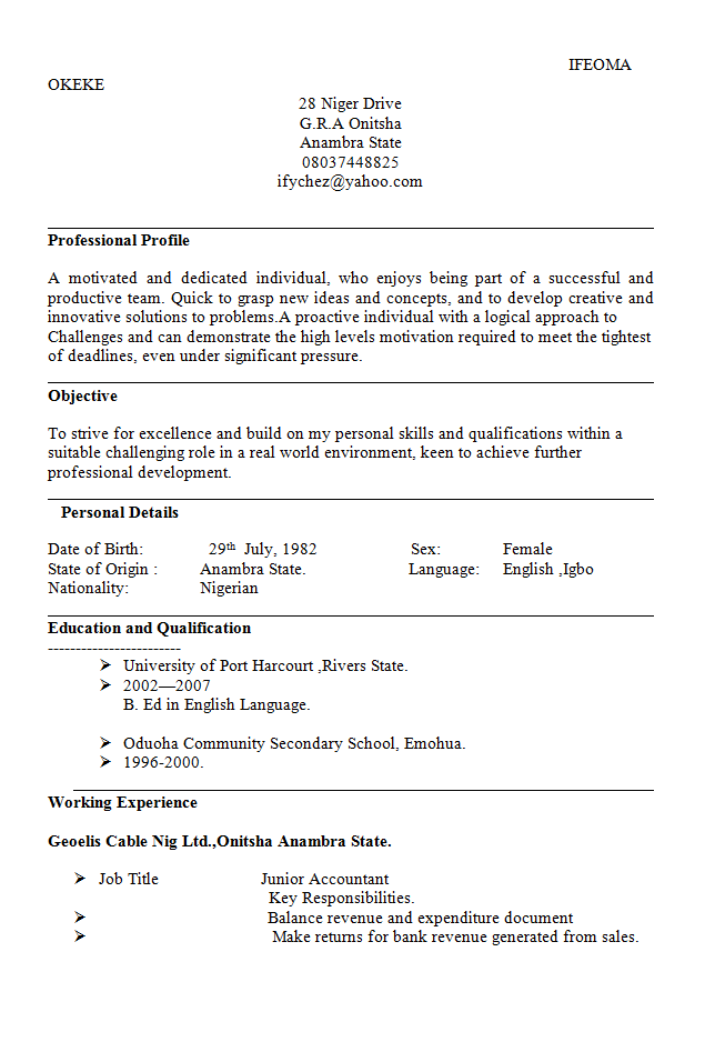 Accountant Cv Sample