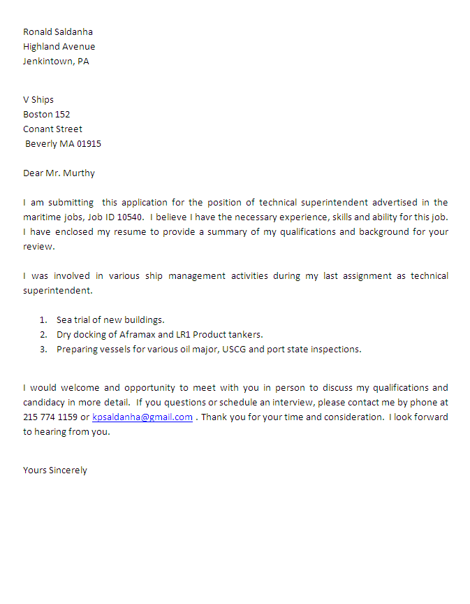 technical superintendent cover letter Technical Superintendent Cover Letter
