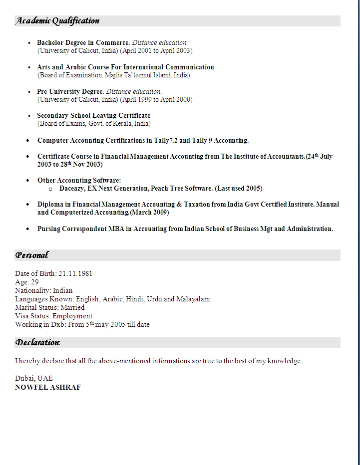 Accounting Cv Sample
