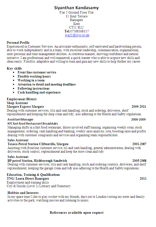 Customer Services Cv Sample