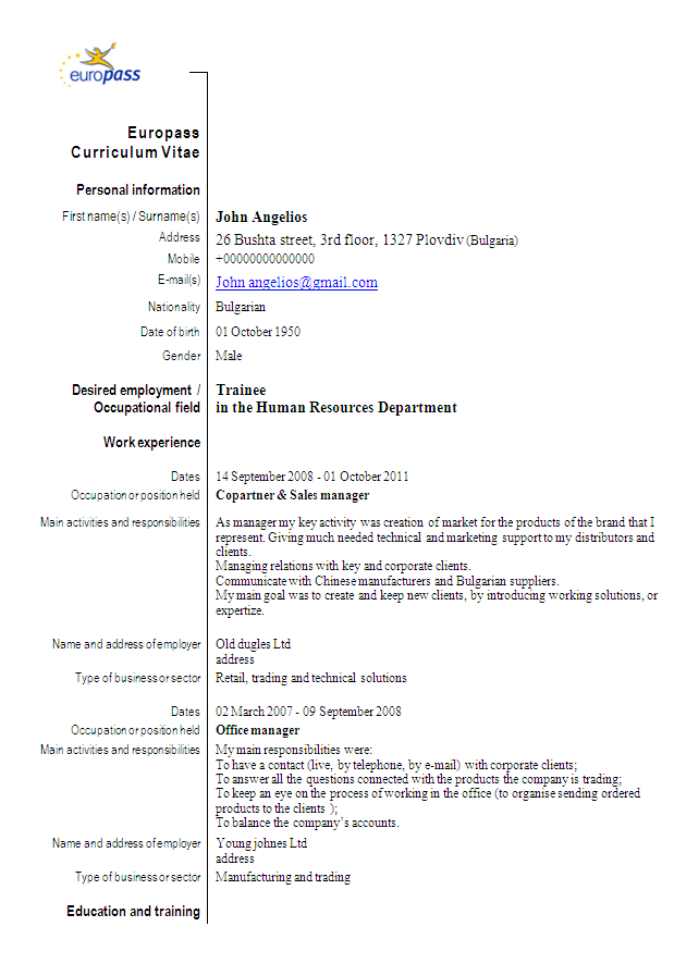 europass cv sample for human resources department  u2022 all docs