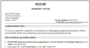Electrical Electronics Engineer Cv Sample 01