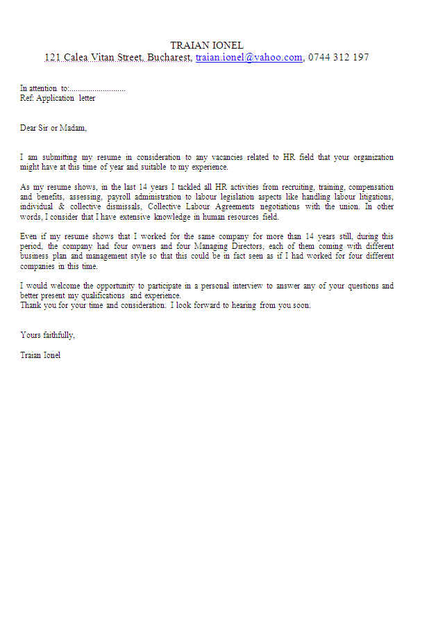 Human Resources Director Application Letter