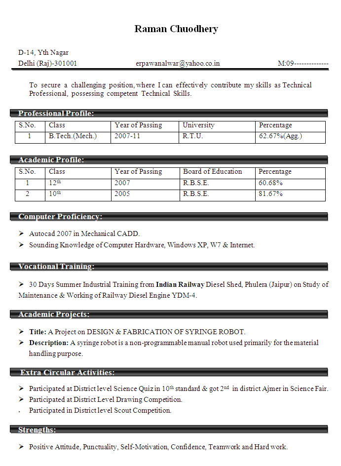 Mechanical Engineering Resume Review