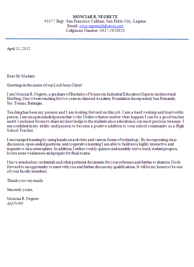 Application letter for teacher in high school a persuasive essay ...