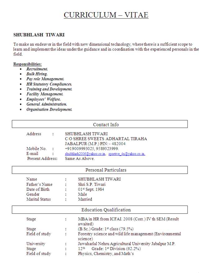 Human Resource Management and Administration CV