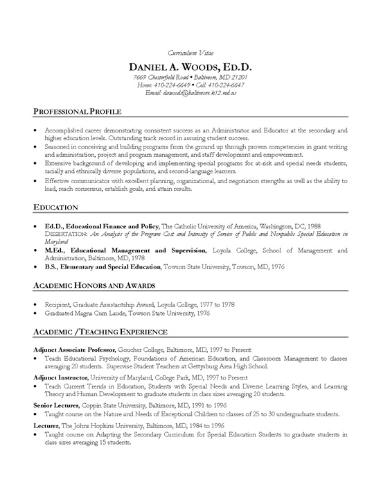 Academic (Teacher) Resume Example