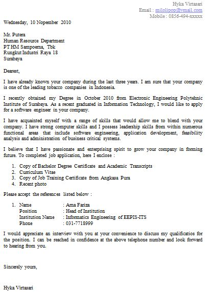 job application letter 2 The Content of a Job Application Letter